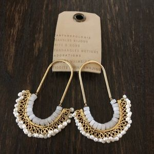 Anthropologie, white/gold beaded earrings. New
